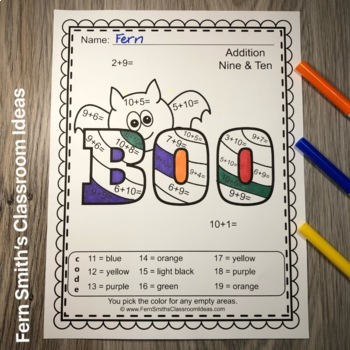Color By Numbers Halloween Fun Addition