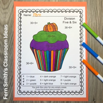 Color By Numbers Halloween Fun Addition Subtraction Multiplication and Division