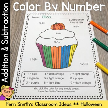 Color By Number Halloween Fun Addition and Subtraction Bundle