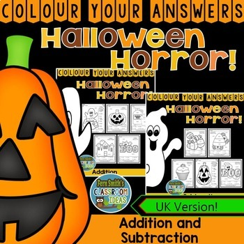 Colour By Numbers Halloween Fun Addition and Subtraction Bundle UK Version