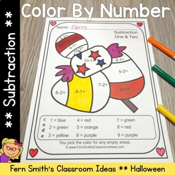 Color By Numbers Halloween Fun Subtraction