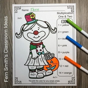 Color By Numbers Halloween Kids Addition Subtraction Multiplication and Division