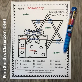 Color By Numbers Hanukkah Addition Subtraction Multiplication and Division