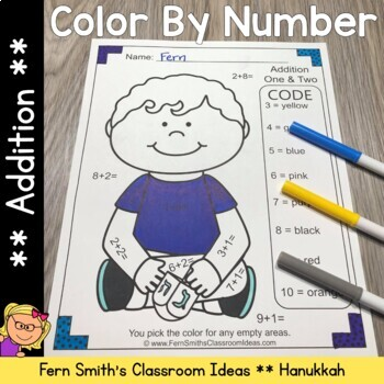 Color By Number Hanukkah Celebration Addition