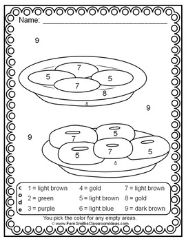 Color By Number Hanukkah Celebration Know Your Numbers Tpt Coded Coloring Pages Thanksgiving Chanukah