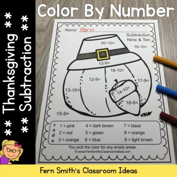 Color By Numbers Thanksgiving Fun Subtraction