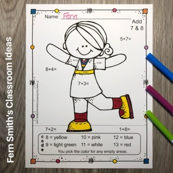 Color By Numbers Happy Students Addition