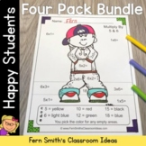Color By Numbers Happy Students Addition Subtraction Multiplication and Division