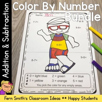 Color By Numbers Happy Students Addition and Subtraction