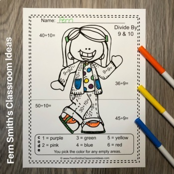 Color By Numbers Happy Students Division Color By Code Worksheets