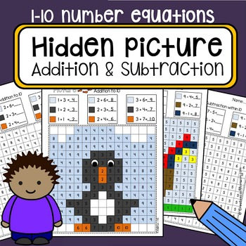 Color By Numbers Hidden Mystery Picture Addition and Subtraction 1-10