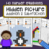 Color By Numbers Hidden Mystery Picture Addition and Subtr