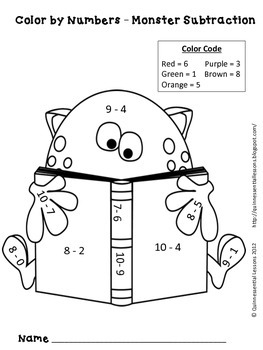 Color By Numbers: Math Monsters Addition and Subtraction ...
