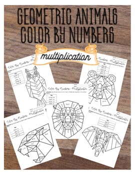 Color By Numbers Multiplication, Geometric Animals
