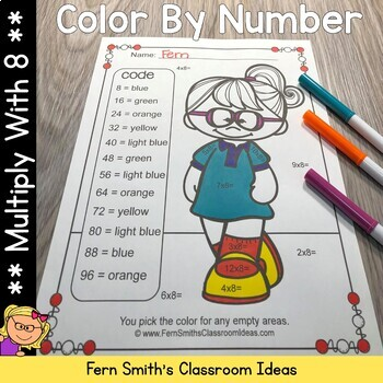 3rd Grade Go Math Chapter Four 4.8 Color By Numbers Multiply With Eight