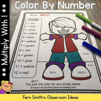 3rd Grade Go Math Chapter Three 3.7 Color By Numbers Multiply With One