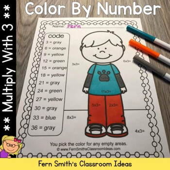 3rd Grade Go Math Chapter Four 4.3 Color By Numbers Multiply With Three