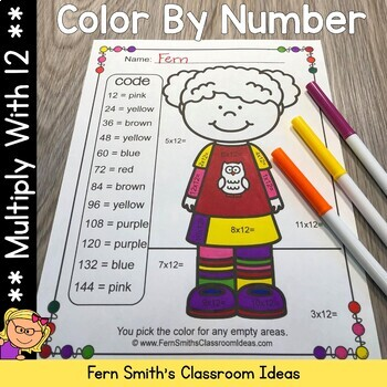 Color By Numbers Multiply By Twelve Color By Code