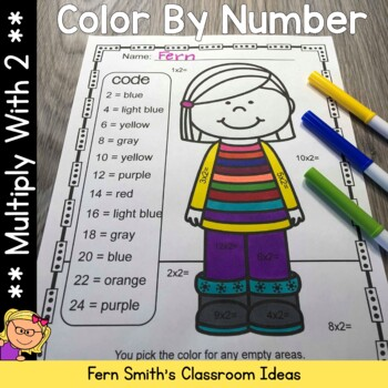 3rd Grade Go Math Chapter Four 4.1 Color By Numbers Multiply With Two