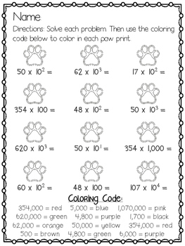 Color By Numbers Multiplying and Dividing By Powers of 10 -  5.NBT.2