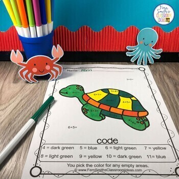 Color By Numbers Ocean Animals Mixed Addition