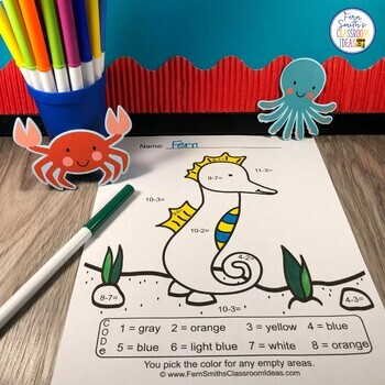 Color By Numbers Ocean Animals Mixed Addition and Mixed Subtraction