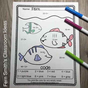 Color By Numbers Ocean Animals Mixed Division