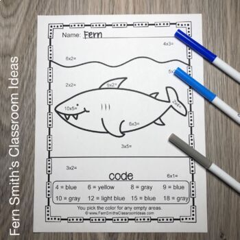 Color By Numbers Ocean Animals Mixed Multiplication