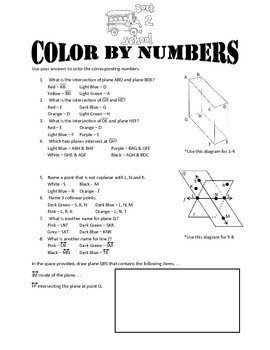 Points Lines & Planes Color By Numbers