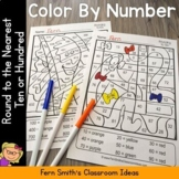 3rd Grade Go Math 1.2 Rounding to the Nearest Ten or Hundred Color By Number