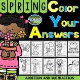 Color By Numbers Spring Time Three Addends Addition and Two-Step Subtraction