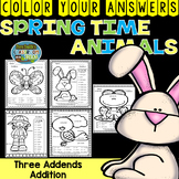 Color By Numbers Spring Time Three Addend Addition