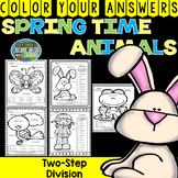 Color By Numbers Spring Time Animals Two-Step Division
