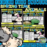 Color By Numbers Spring Time Two-Step Math Problems Bundle