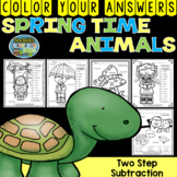Color By Numbers Spring Time Two-Step Subtraction