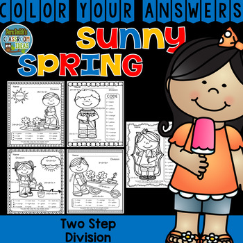 Color By Numbers Sunny Spring Two-Step Multiplication