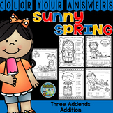 Color By Numbers Sunny Spring Three Addend Addition