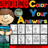 Color By Numbers Sunny Spring Three Addends Addition and Two-Step Subtraction