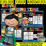 Color By Numbers Sunny Spring Two-Step Math Problems Bundle