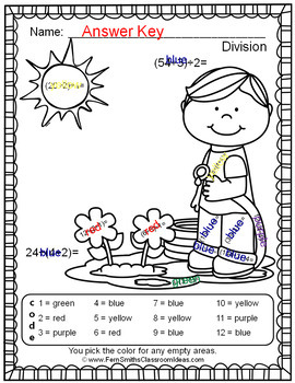 Color By Numbers Sunny Spring Two-Step Multiplication and Division Bundle