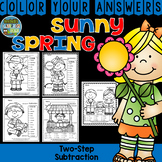Color By Numbers Sunny Spring Two-Step Subtraction
