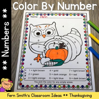 Thanksgiving Color By Numbers Thanksgiving Fun Know Your Numbers