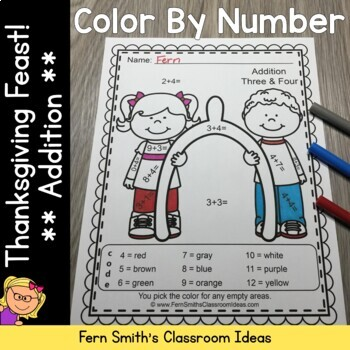 Color By Numbers Thanksgiving Feast Addition