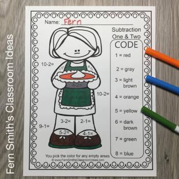 Color By Numbers Thanksgiving Feast Addition and Subtraction Bundle