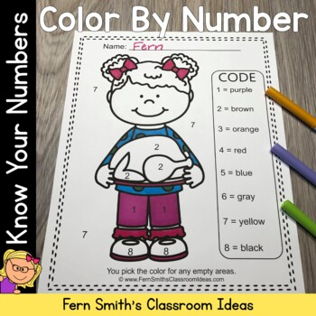 Color By Numbers Thanksgiving Feast Know Your Numbers