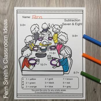 Thanksgiving Color By Number Subtraction