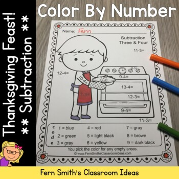 Color By Numbers Thanksgiving Feast Subtraction