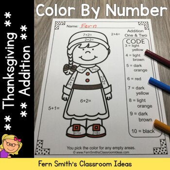 Color By Numbers Thanksgiving Fun Addition