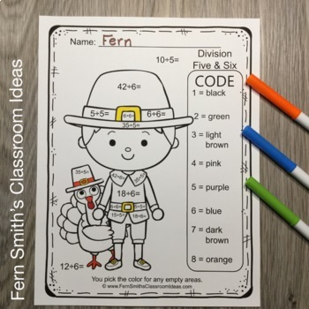 Thanksgiving Color By Number Multiplication and Division Bundle