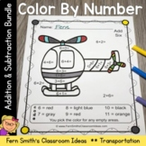Color By Numbers Transportation Addition and Subtraction B